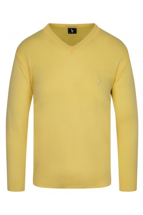 Sweter męski V-neck w serek - KNK - wełna/akryl - żółty