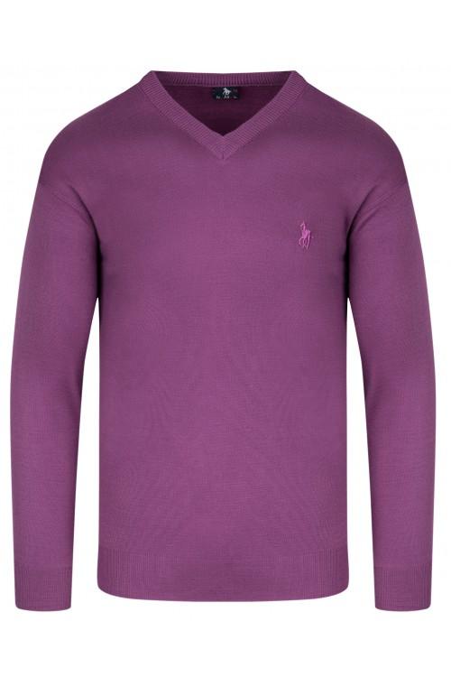 Sweter męski V-neck w serek - KNK - wełna/akryl - fioletowy