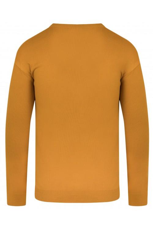 Sweter męski V-neck w serek - KNK - wełna/akryl - musztardowy