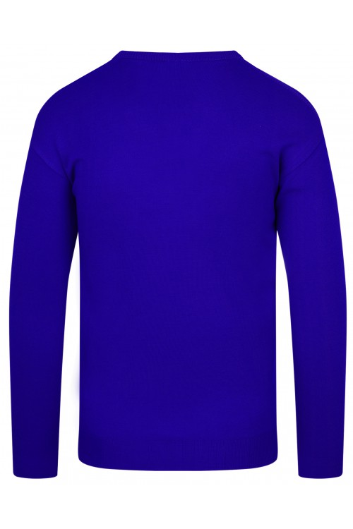 Sweter męski V-neck w serek - KNK - wełna/akryl - chabrowy