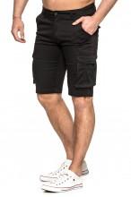 Spodenki męskie bawełniane Bojówki z kieszeniami przed kolano - czarne