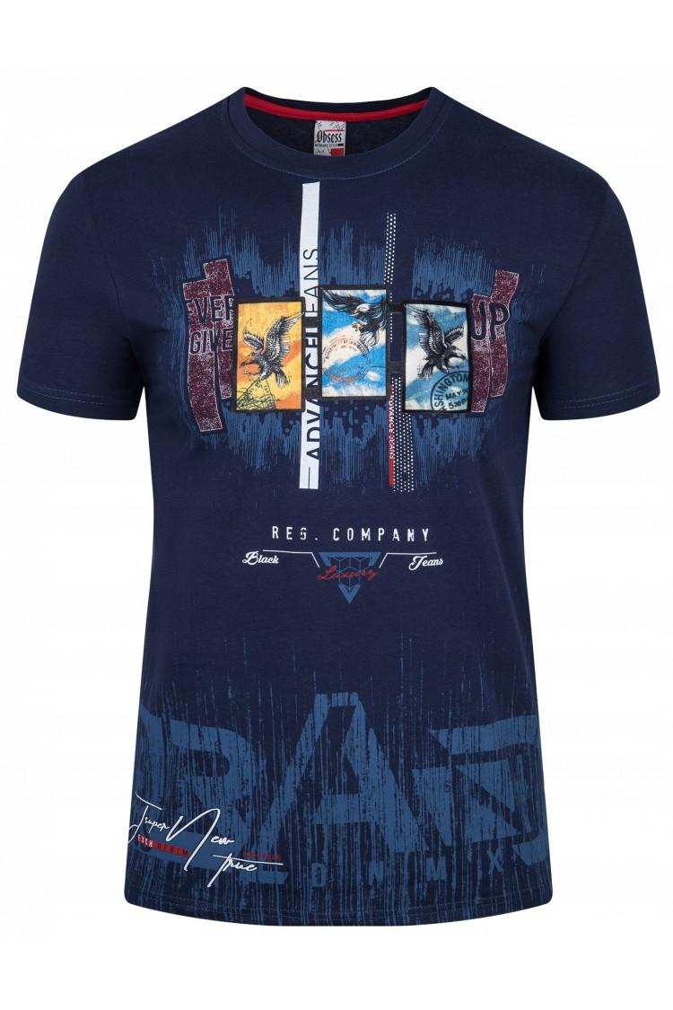 Koszulka męska - Tshirt - Brand DX - granatowa