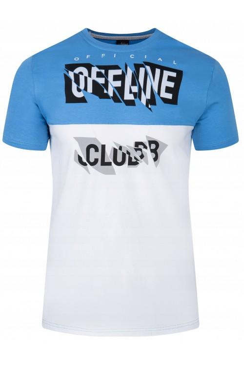 Koszulka męska - Tshirt - Offline -błękitno-biała