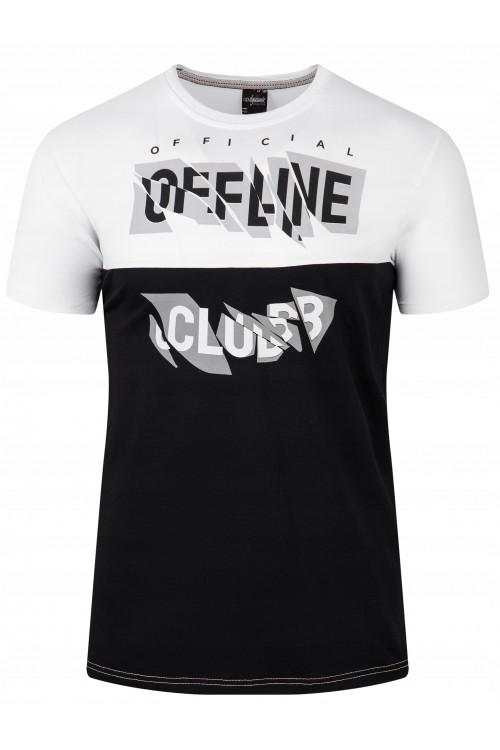 Koszulka męska - Tshirt - Offline - biało-czarna