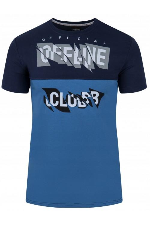 Koszulka męska - Tshirt - Offline - granatowo-niebieska
