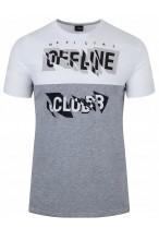 Koszulka męska - Tshirt - Offline - biało-szara