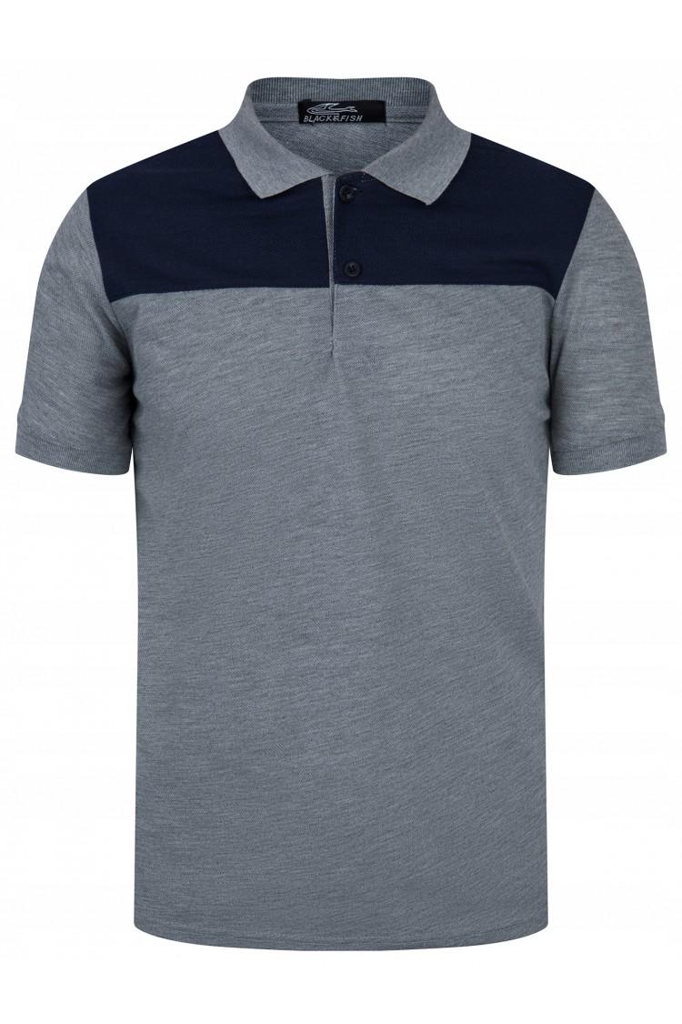 Koszulka męska POLO no.2 - bawełniana - granatowo-szara