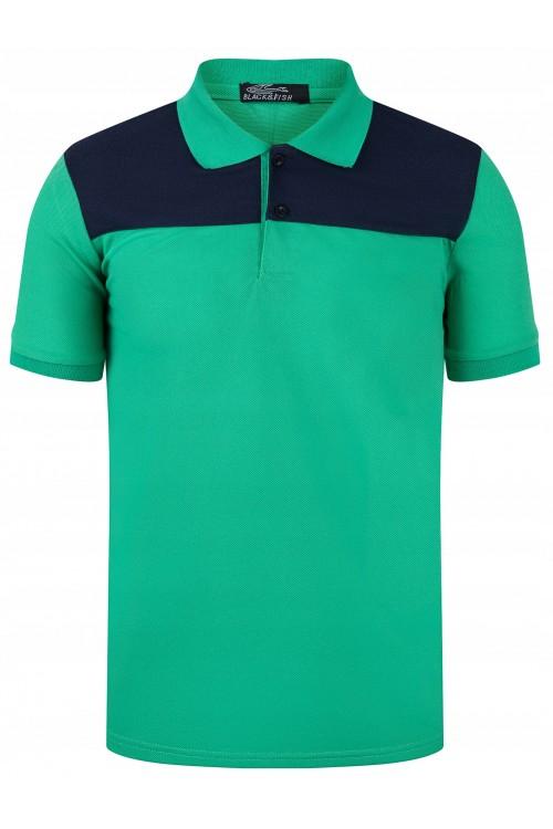 Koszulka męska POLO no.2 - bawełniana - granatowo-zielona