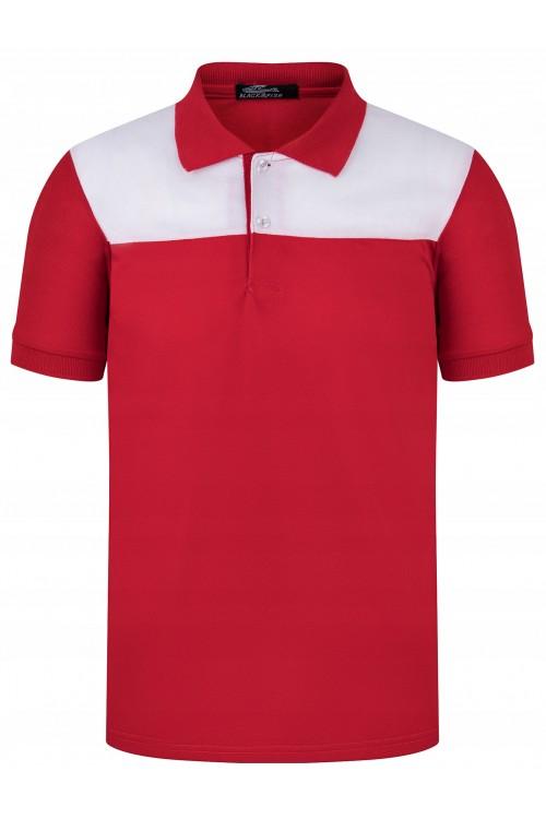 Koszulka męska POLO no.2 - bawełniana - biało-czerwona